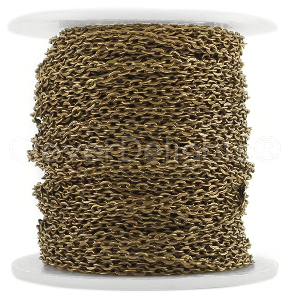 CleverDelights Cable Chain Spool - 30 Feet - Antique Bronze Color - 2x3mm Link - 10 Meters