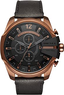 Diesel Men's Mega Chief Quartz Stainless Steel and Leather Chronograph Watch, Color: Rose Gold-Tone, Black (Model: DZ4459)