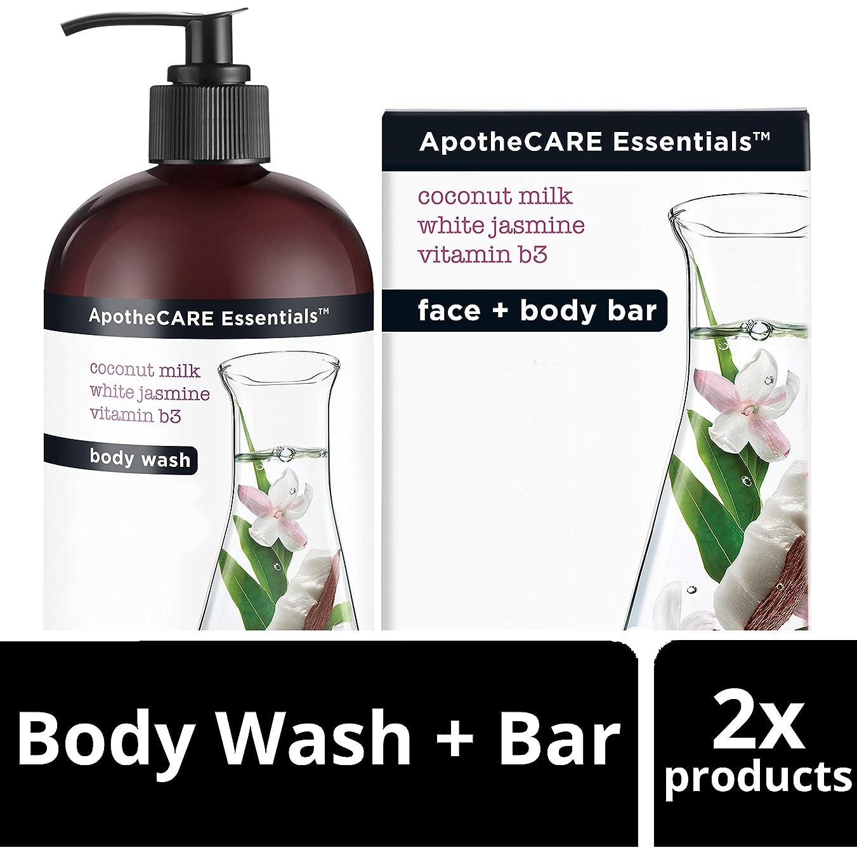 松戦争言い直すBody Wash and Bar Soap, Coconut Milk, White Jasmine, Vitamin B3, 16 oz 473 ml