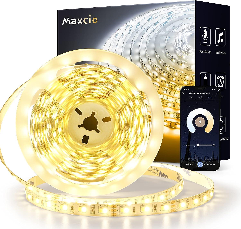 Tira LED Blanca Wifi 5M, Maxcio Tira Luces Led Inteligente Regulable de Luz Blanca Fría & Cálida 2800-7000K, Control por APP o Voz, Compatible con Alexa & Google Home, 3250LM 600 LEDS SMD 2835