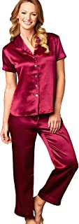 Women's 100% Silk Pajama, Drawstring Waist, Contrast Piping, Amelie, Sleepwear, Lingerie
