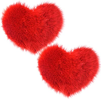 Marrywindix 2 Pieces Fluffy Faux Sheepskin Area Rug Heart Shaped Rug Fluffy Room Carpet for Home Living Room Sofa Floor Bedroom (Red)