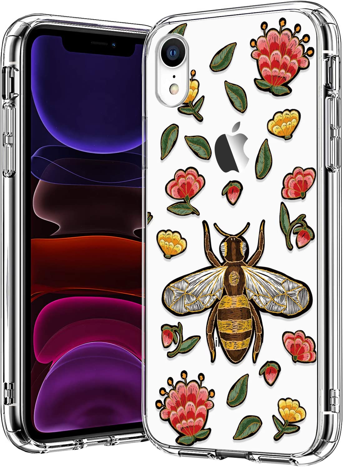 BICOL iPhone XR Case,Bee Floral Pattern Clear Design for Girls Women Transparent Plastic Hard Back Cover with Soft TPU Bumper Protective Phone Case for Apple iPhone XR