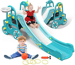 Pickwoo Toddler Slide 4-in-1 Kids Slide with Basketball and Throwing Game Climbing Toys for Toddlers Outdoor Indoor Slide Playground Equipment Set Baby Slide
