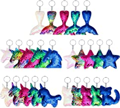 Yaomiao 25 Pieces Sequin Keychains Flip Sequins Keychain with Unicorn Mermaid Tail Cat Star Shape for Kids Girls Birthday ...