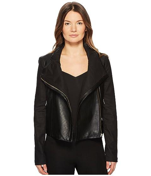 LAMARQUE Amata Linen & Leather Funnel Jacket