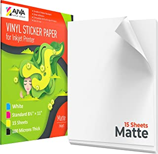 Printable Vinyl Sticker Paper - Waterproof Decal Paper for Inkjet Printer - 15 Self-Adhesive Sheets - Matte White - Standard Letter Size 8.5