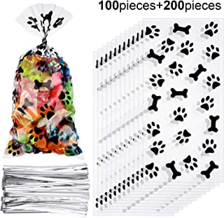 Maitys 100 Pieces Paw Bone Print Treat Bags Cellophane Clear Food Bags with 200 Pieces Twist Ties for Candies Chocolate Cookies Dessert Snacks