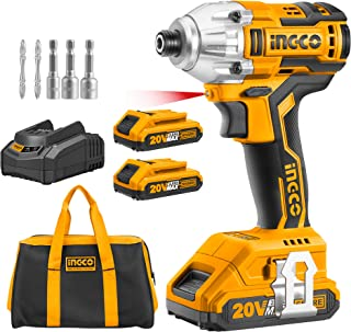 INGCO Brushless Impact Driver 20V Li-Ion Cordless Impact Driver with 2pcs 2.0Ah Batteries, 1pcs Charger, 1/4 Inch, 170NM C...