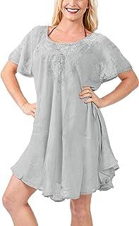 8ab729c3ed Women's Short Sleeve Loose Plain Midi Dresses Casual Dresses Kaftan Rayon  Tie ...