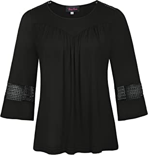 Women's Casual Loose Flared Sleeve Crew Neck Plus Size Blouse