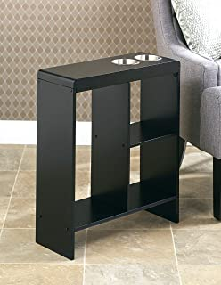 Slim End Table with Drink Holders and Built-in Shelving - Black