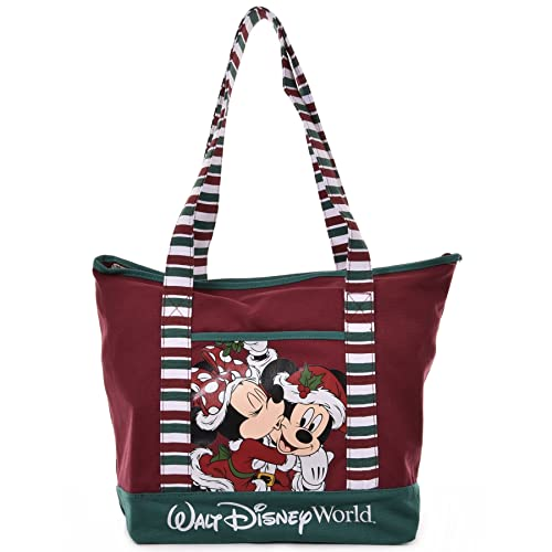 Disney Santa Mickey & Minnie Mouse Christmas Holiday Tote Bag in Red Canvas