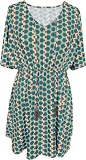 Women's Loose Fit Short Dress Half Sleeves Down Babydoll Elastic Tunic Floral Printed Mini Dresses