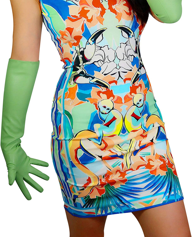 DooWay Women Leather Gloves Faux Lambskin Spring Green Super Long Opera/Elbow Length Wrist short