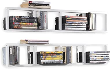 YouHaveSpace White Floating Shelves for Wall, 34 Inch Video Games, CD, DVD Storage Shelves, Metal Cube Storage Shelf Set of 2