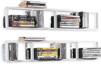BHG You-Have-Space Wall Mount 34 Inch Media Storage Rack CD DVD Organizer Metal Floating Shelf Set of 2 White