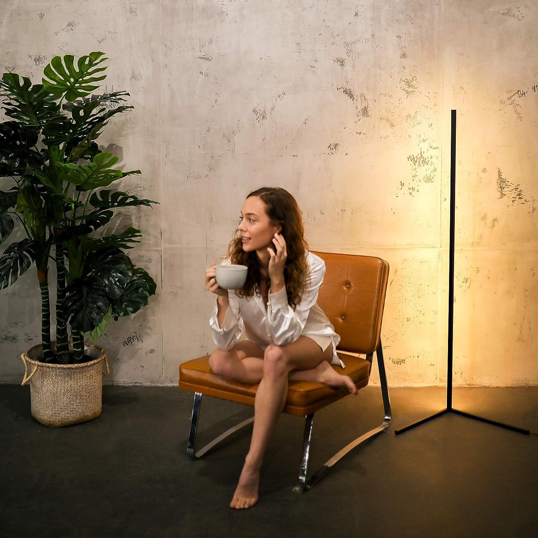 Schwarz LED Stehlampe dimmbar Minimal Lamp Design Ecklampe in schwarz und wei/ß Elegante Lichts/äule mit warmen Licht f/ür jede Ecke Corner Lamp