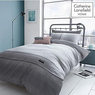 Catherine Lansfield Denim Easy Care - Conjunto de 135 x 200 cm + 1 x 50 x 75 cm, Gris