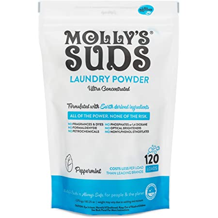 Molly's Suds Original Laundry Detergent Powder | Natural Laundry Detergent for Sensitive Skin | Earth-Derived Ingredients, Stain Fighting | 120 Load
