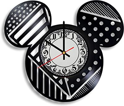 BombStudio Mickey Mouse Vinyl Record Wall Clock, Mickey Mouse Handmade for Kitchen, Office, Bedroom. Mickey Mouse Ideal Wall Poster