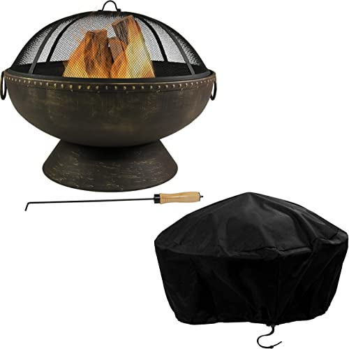 """discount Sunnydaze online sale Outdoor Fire Pit Bowl - 30 Inch Large Round Wood Burning Firepit with Spark Screen, Fireplace Poker, and Metal Grate and 30"""" Black PVC Round new arrival Outdoor Fire Pit Cover Bundle outlet online sale"""