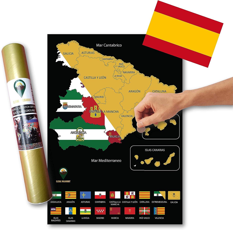 Global Walkabout ESPAÑOL - Mapa de scratch de regiones de países españoles con fondo de banderas - Regalo De Viaje -(negro)