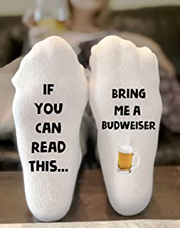 If You Can Read This Bring Me a Budweiser Novelty Funky Crew Socks Men Women Christmas Gifts Slipper Socks