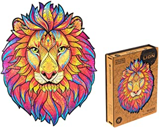 Unidragon Wooden Puzzle Jigsaw, Best  Adults and Kids, Unique Shape Jigsaw Pieces Mysterious Lion, 12.2 x 15.7 inches, 327...