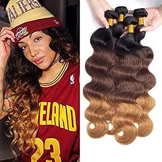 Dayrise Hair 9A Grade Ombre Human Hair Bundles Body Wave 4 Bundles Brazilian Virgin Hair Three Tone T1b/4/30 Black to Brown Hair Bundles(18 20 22 24)