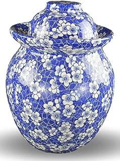 Porcelain Pickling Jar with 2 Lids Fermenting Pickling Kimchi Crock Food Storage Blue Cherry Blossom (10 IN)