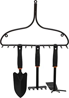 MyGift Decorative Brown Metal Rake Head Design Wall Mounted Hanging Organizer Storage Rack/Garden Tool Hooks