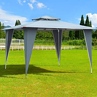 Tangkula 2 Tier Gazebo Canopy Shelter Outdoor Awning Tent with Steel Frame Patio Garden Canopy 11.5'x11.5' (Gray)