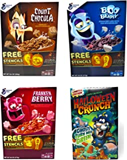 Halloween Breakfast Cereal Variety Pack - Count Chocula, Frankenberry, Boo Berry, Halloween Captain Crunch - 4 Boxes Total - 1 Box of Each