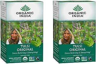 Organic India Tulsi Original Herbal Tea - Stress Relieving & Energizing, Immune Support, Adaptogen, Vegan, Gluten-Free, US...
