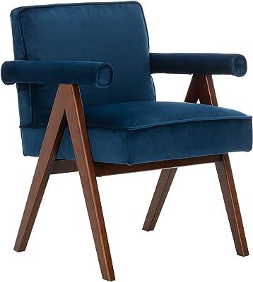 Safavieh Home Suri Mid-Century Modern Navy Velvet and Walnut Arm Chair