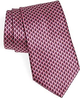 New Men's Ermenegildo Zegna Geometric Diamond Pattern Pink Italian Silk Tie