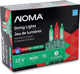 NOMA Premium Mini LED Christmas Lights | Indoor/Outdoor String Lights | Red and Green Bulbs | 70 Light Set | 23.6 Foot Strand