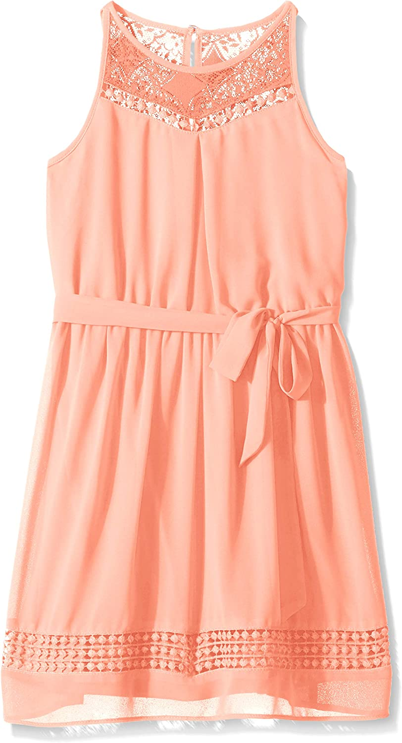 Amy Byer Girls' Big Halter Fit and Flare Dress with Lace