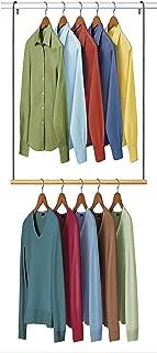 Lynk Double Hang Closet Rod Organizer - Clothing Hanging Bar - Chrome/Wood