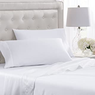 Elizabeth Arden Soft Breeze 400 Thread Count Pillowcase Set - Ultra-Fine Natural Pure Long-Staple Combed 100% Cotton - (Set of 2 King Size, White)
