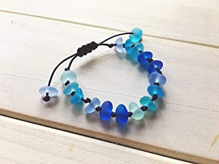 Blue Sea Glass Bracelet, Adjustable String Knot Sennit Bracelet, Sea Glass Jewelry, Beach Glass, Marine Jewelry