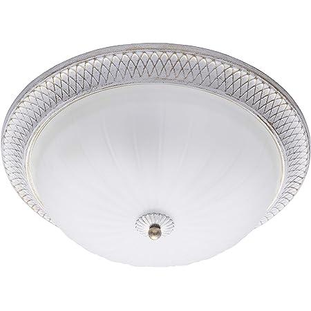 MW-Light 450013603 Plafonnier Rond Magnifique à 3 Ampoules Design Classique en Métal Blanc Doré Abat-jour en Verre Mat pour Cuisine Couloir Salle de Bains 3x60W E27