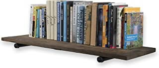 Rustic State Sturdy Construction Reclaimed Wood Floating Wall Shelf by Rustic State 36 Inch with Industrial Style Pipe Brackets Walnut