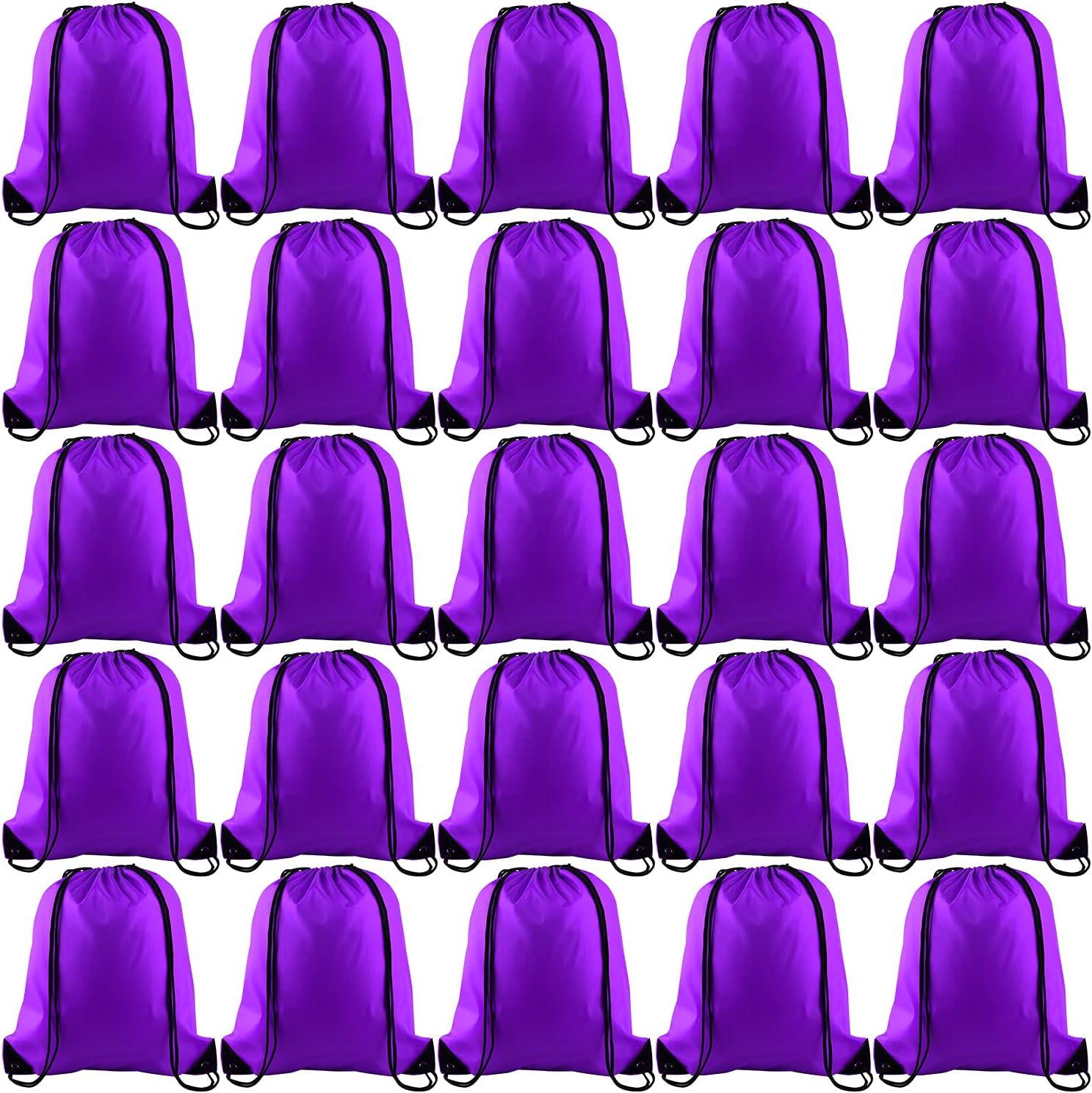 KUUQA 25Pcs Purple Drawstring Backpack Bulk Drawstring Bags String Backpack Cinch Gym Backpack for Gym Sport Traveling
