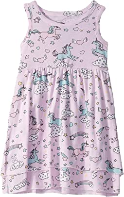 All Over Unicorns Baby Rib Tiered Tank Dress (Toddler/Little Kids)