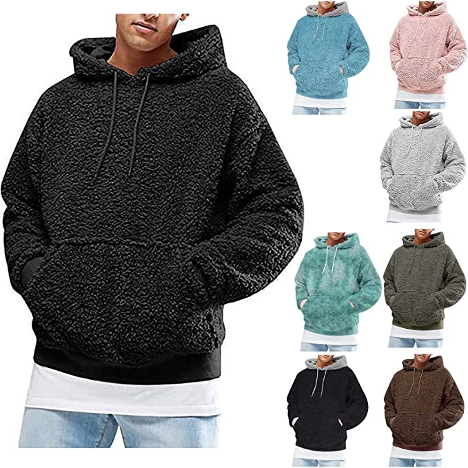 Mens Fuzzy Sherpa Pullover Hoodie Sweatshirts Long Sleeve Oversized Drawstring Hooded Sweaters with Kangaroo Pocket