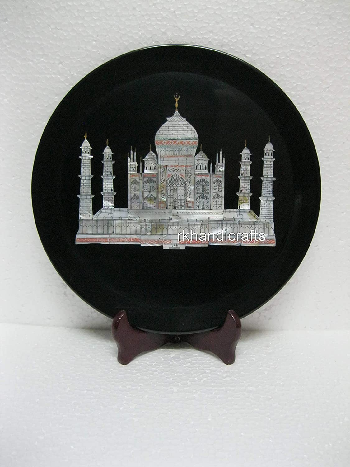 rkhandicrafts 12 Inches Black Be super welcome Marble Plate be excellence Can Decorative Use