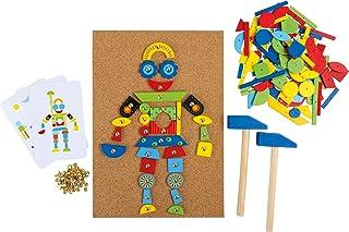 Hammer spel av kork och trä, inklusive tillbehör (2 hammare, 100 naglar och 126 färgglada trädelar), för kreativt nöje från 6