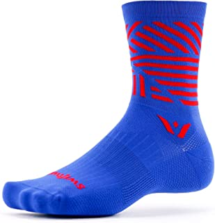 Swiftwick- VISION FIVE EDGE | Running & Cycling Crew Socks | Wicking, Cushioned